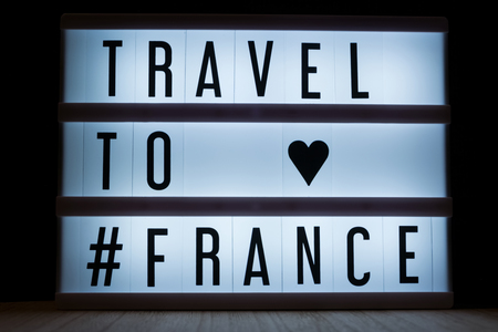 Travel to France text in lightbox  Reklamní fotografie