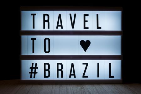 Travel to Brazil text in lightbox Reklamní fotografie