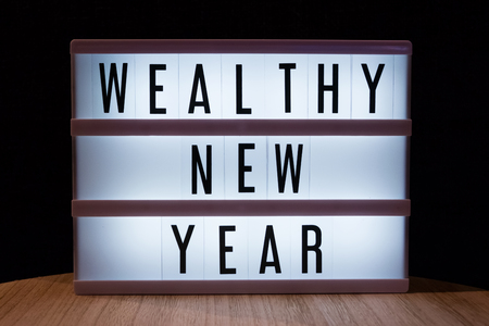 Wealthy new year text in lightbox