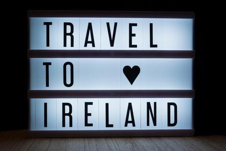Travel to Ireland text in lightbox Reklamní fotografie