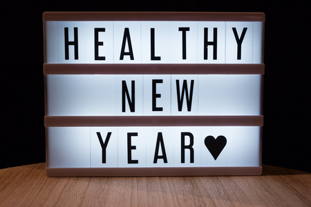Healthy new year text in lightbox