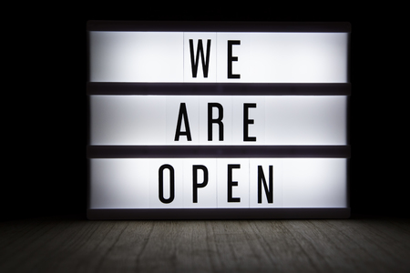 We are open text in lightbox Reklamní fotografie