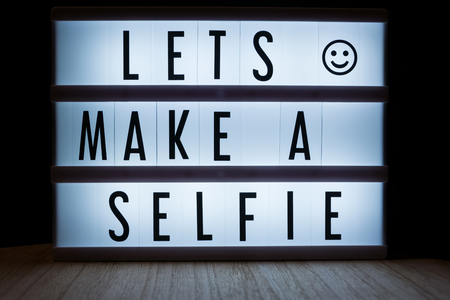 Lets make a selfie text in lightbox