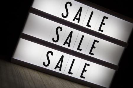 Sale sale sale text in lighbox