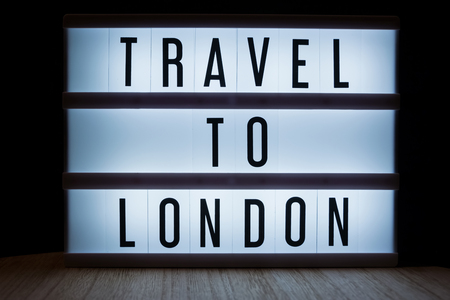 Travel to London text in lightbox