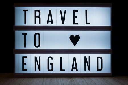 Travel to England text in lightbox