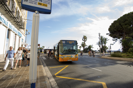 Bus arriving at station (Nice - France 28th of July 2017)