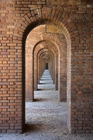 dry tortugas: Arches at Fort Jefferson, Dry Tortugas National Park Stock Photo