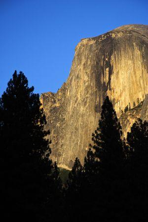A glowing Half Dome, Yosemite National Park Stock Photo