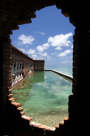 dry tortugas: View from a Fort Jefferson prison cell, Dry Tortugas National Park Stock Photo