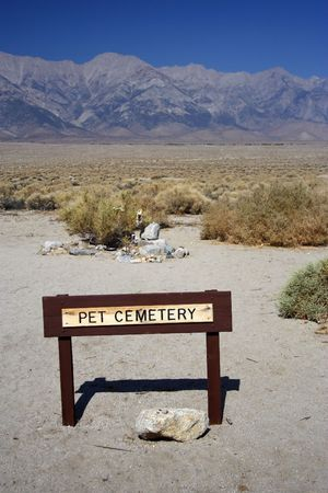 Site of a pet cemetery in Manzanar National Historic Site Stock Photo