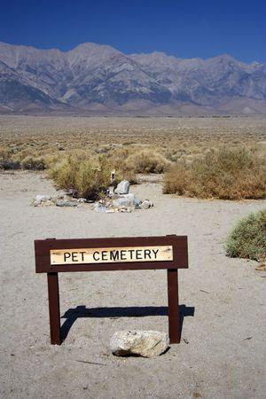 Sitio de un cementerio de mascotas en el sitio hist�rico nacional de Manzanar  Foto de archivo