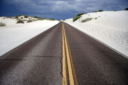 white sands national monument: The main road through White Sands National Monument, New Mexico Stock Photo