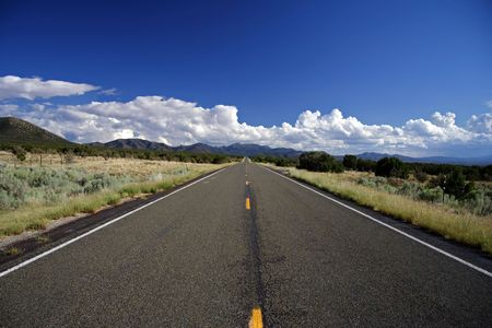 Turquoise Trail heading south toward  Alburquerque, New Mexico Stock Photo