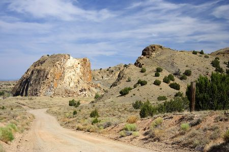 backroad: A backroad crosses the New Mexico countryside