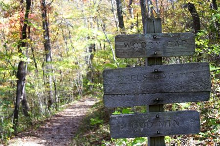 Distances along the Appalachian Trail, Blood Mountain Stock Photo
