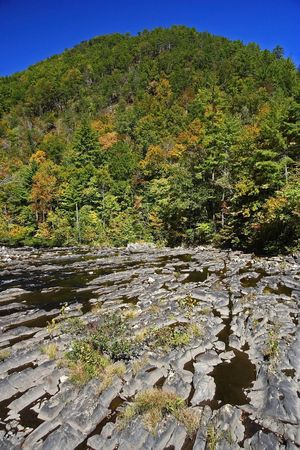 Unique Rock Formations along the Tellico River, Tennessee Stock Photo