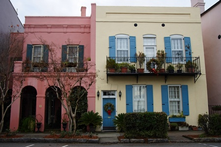 The colonial architecture of Rainbow Row, Charleston, South Carolina