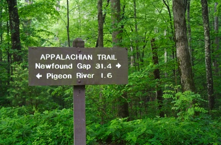 appalachian trail sign: Appalachian Trail Sign, Great Smokey Mountains National Park Stock Photo