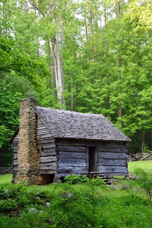 Historic Cabin in Great Smokey Mountains National Park Stock Photo