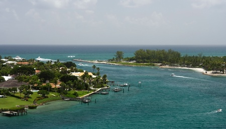 Jupiter Inlet, viewed from the historic Jupiter Inlet Lighthouse Stock Photo