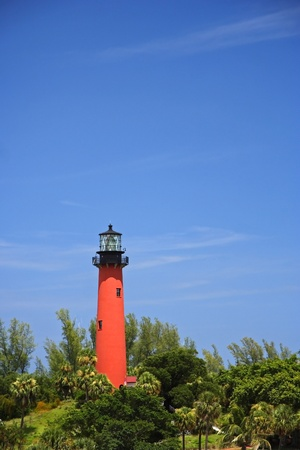 Historic Jupiter Inlet Lighthouse (1860) in Jupiter, Florida Stock Photo