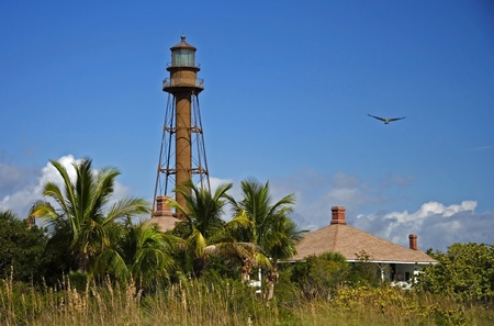 View of the Historic Sanibel Island Lighthouse, Florida Stock Photo