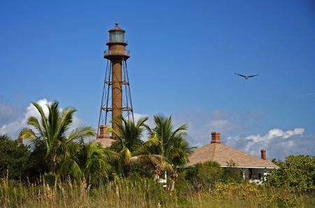 Vista del hist�rico Faro de Sanibel Island, Florida Foto de archivo