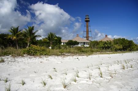 Historic Lighthouse on Sanibel Island, South Florida Stock Photo