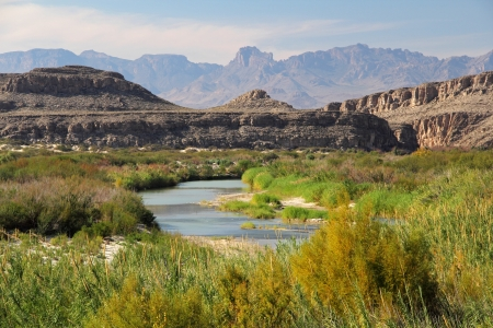 The Rio Grande as viewed from Big Bend National Park, Texas Imagens