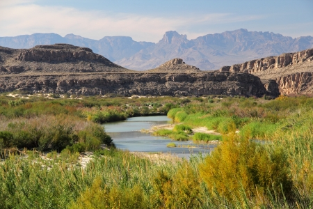 The Rio Grande winds through the desert along the Mexico-Texas Border, Big Bend