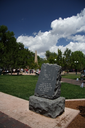 Monument marking the end of the Santa Fe Trail, downtown Santa Fe, New Mexico