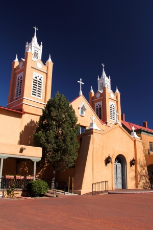 Historic San Felipe de Neri Church in Old Town Albuquerque Stock Photo