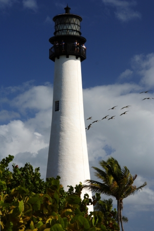 bill baggs: Historic Cape Florida Light with Pelicans in Background, Miami Editorial