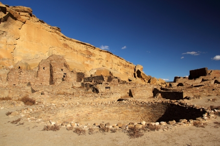 kiva: Pueblo Bonito Kiva, Chaco Culture National Historical Park, New Mexico Stock Photo