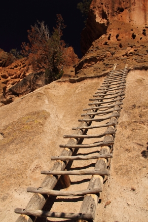 Tall Ladder in Bandelier National Monument, New Mexico Stock Photo