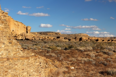 chaco: Pueblo Ruins in Chaco Culture National Historical Park, New Mexico Stock Photo