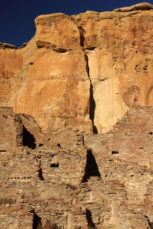 chaco: Pueblo Bonito Ruins in Chaco Culture National Historical Park, New Mexico Stock Photo