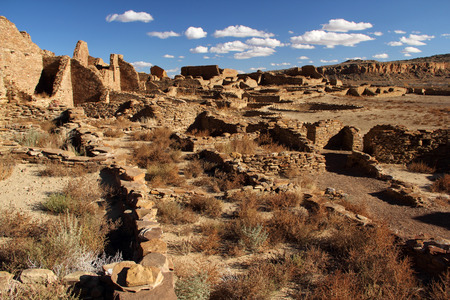Ancient Pueblo Bonito Ruins in Chaco Canyon, New Mexico Stock Photo