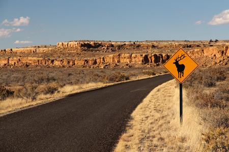 chaco: Elk Crossing sign in Chaco Canyon, New Mexico