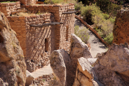 Pueblo Ruins in Bandelier National Monument, New Mexico