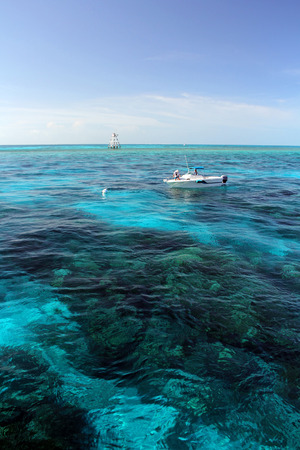 Key Largo, Florida, July 27, 2014 - Boaters enjoying a beautiful afternoon at Molasses Reef in the Florida Keys.
