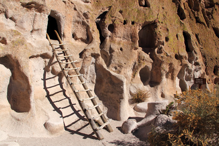 Ladder leads to a cave entrance in Bandelier National Monument, New Mexico