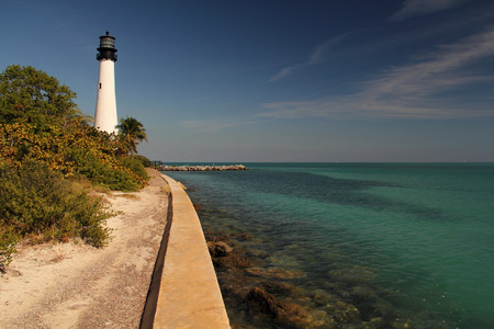 bill baggs: Cape Florida Lighthouse under a sunny sky, Bill Baggs State Park, Miami, Florida