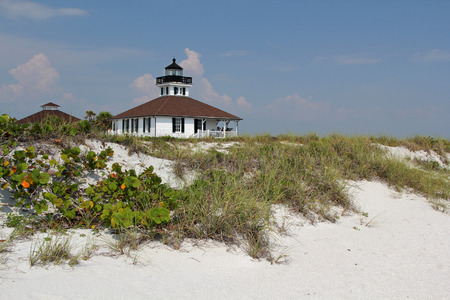 Boca Grande Lighthouse with Sand Dune in the Foreground, Gasparilla Island State Park, Florida Gulf Coast