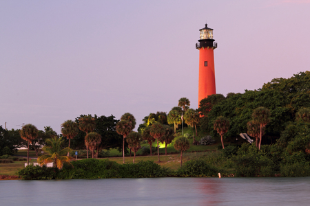 inlet: Historic Jupiter Lighthouse along the Jupiter Inlet in Palm Beach County, Florida
