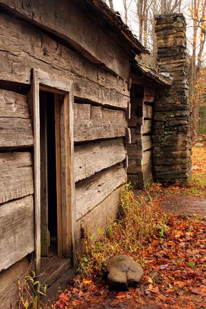 great smokies: Ephraim Bales Cabin Entrance, Great Smokey Mountains National Park, Tennessee Stock Photo