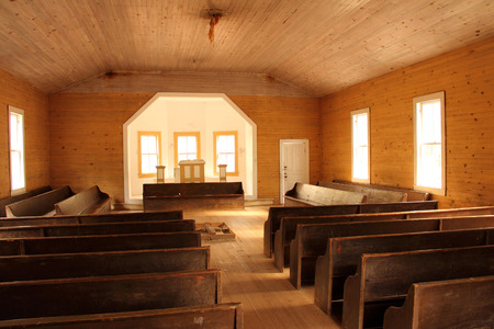 missionary: Rustic Interior on the historic Cades Cove Missionary Baptist Church, Great Smokey Mountains National Park Editorial