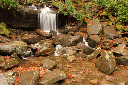 great smokies: Small waterfalls along the Rainbow Falls Trail, Great Smokey Mountains National Park