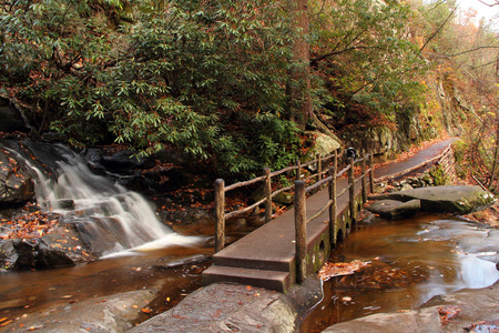 great smokies: Small Bridge over Laurel Falls, Great Smokey Mountains National Park, Tennessee
